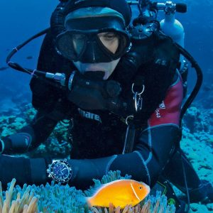 Diver with a Waterproof Watch